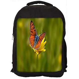 Snoogg Orange Butterfly In Yellow Flower Digitally Printed Laptop Backpack