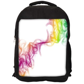 Snoogg Clolorful Smoke Designer Laptop Backpacks