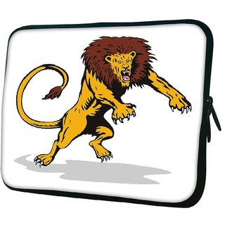Snoogg Lion Big Cat Attacking Retro 10.2 Inch Soft Laptop Sleeve