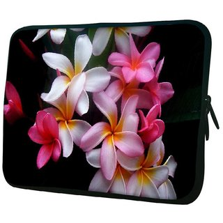 Snoogg White Petals 10.2 Inch Soft Laptop Sleeve