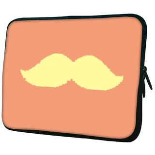 Snoogg Minimal Yellow Mustache Designer Protective 10.2 Inch Soft Laptop Sleeve