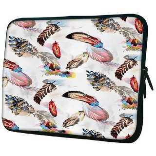 Snoogg Colorful Feather 10.2 Inch Soft Laptop Sleeve