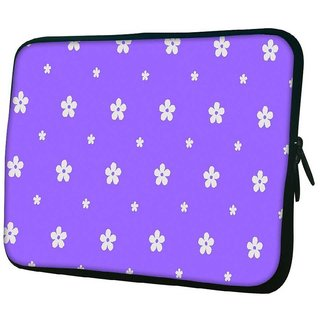 Snoogg White Flower In Purple 10.2 Inch Soft Laptop Sleeve