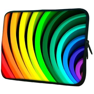 Snoogg Multiple Colors Strips 10.2 Inch Soft Laptop Sleeve