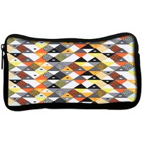 Snoogg  Aztec Orange Grey Yellow Poly Canvas Multi Utility Travel Pouch