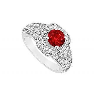LoveBrightJewelry Authentic 14K White Gold Ruby & Diamond Engagement Ring-1.25 CT