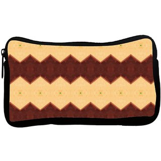 Snoogg Cream And Brown Mix Poly Canvas S Multi Utility Travel Pouch