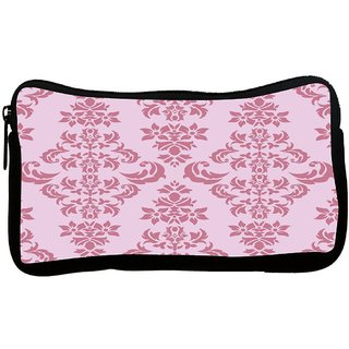 Snoogg Pink Floral Pattern Poly Canvas S Multi Utility Travel Pouch