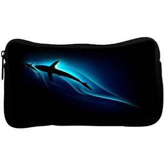 Snoogg Neon Shark In Sea Poly Canvas  Multi Utility Travel Pouch