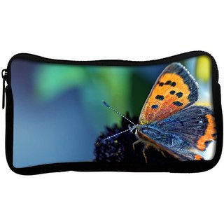 Snoogg Butterfly In Black Flower Poly Canvas  Multi Utility Travel Pouch
