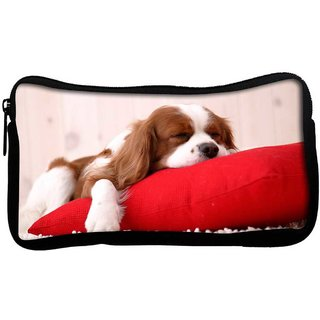 Snoogg Dog Sleeping In A Pillow Poly Canvas  Multi Utility Travel Pouch