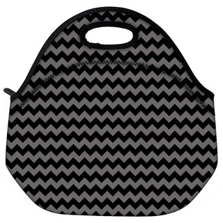 Snoogg Grey Black Wave 2457 Travel Outdoor Tote Lunch Bag