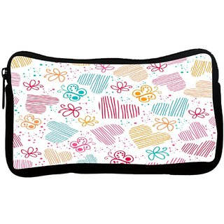 Snoogg Multicolor Hearts And Butterflies Poly Canvas S Multi Utility Travel Pouch
