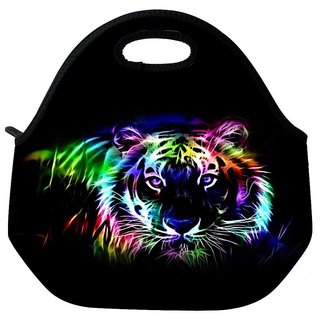Snoogg Neon Tiger Outline 2669 Travel Outdoor Tote Lunch Bag