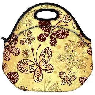 Snoogg Butterfly Cream Travel Outdoor Tote Lunch Bag
