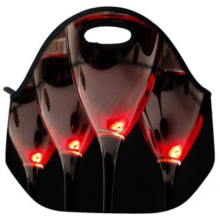 Snoogg Wine Glasses Travel Outdoor Tote Lunch Bag