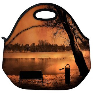 Snoogg Evening Lake View Travel Outdoor Tote Lunch Bag