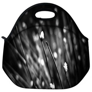 Snoogg Black Blossom Travel Outdoor Tote Lunch Bag
