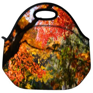 Snoogg Red Leaves Tree Travel Outdoor Tote Lunch Bag