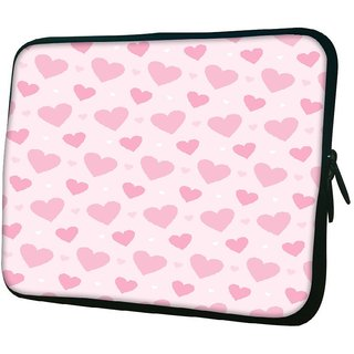Snoogg Loving Heart 1010.2 Inch Soft Laptop Sleeve