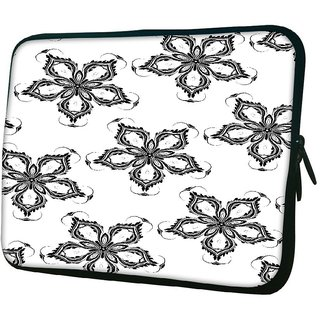 Snoogg Grey Floral Flower 1010.2 Inch Soft Laptop Sleeve