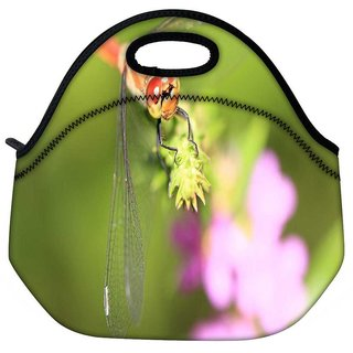 Snoogg Dragonfly On A Branch Travel Outdoor Tote Lunch Bag