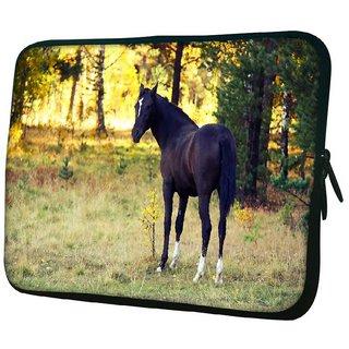 Snoogg Dark Black Horse 10.2 Inch Soft Laptop Sleeve