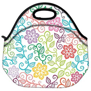 Snoogg Seamless Texture With Flowers And Butterflies Endless Floral Pattern Travel Outdoor Tote Lunch Bag