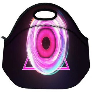 Snoogg Glowing Eye In A Pink Triangle Travel Outdoor Tote Lunch Bag