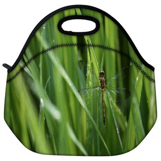 Snoogg Dragonfly In Green Grass Travel Outdoor Tote Lunch Bag