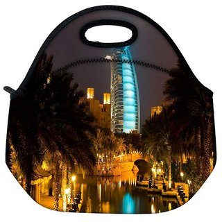 Snoogg Glowing Veiw At Dubai Travel Outdoor Tote Lunch Bag