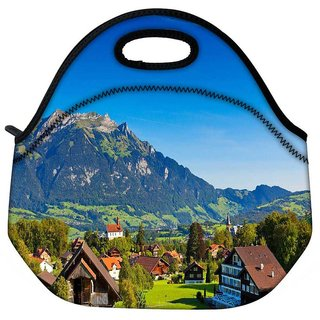 Snoogg Abstract Houses And Mountain Travel Outdoor Tote Lunch Bag