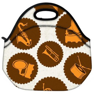 Snoogg Music Stickers Travel Outdoor Tote Lunch Bag