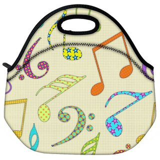 Snoogg Colorful Music Alphabets Travel Outdoor Tote Lunch Bag