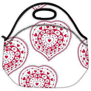 Snoogg Red Heart White Pattern Travel Outdoor CTote Lunch Bag