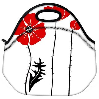 Snoogg Stylish Red And Black Poppies On White Background Travel Outdoor Tote Lunch Bag