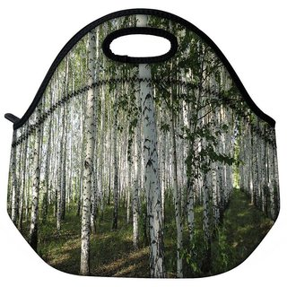 Snoogg White Trees Travel Outdoor Tote Lunch Bag