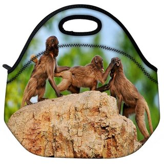 Snoogg Monkey Fighting Travel Outdoor Tote Lunch Bag