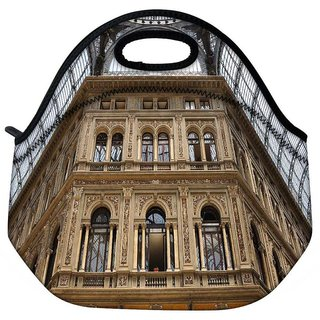 Snoogg Abstract Golden Building Travel Outdoor Tote Lunch Bag