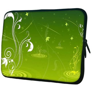 Snoogg Abstract Green Design 10.2 Inch Soft Laptop Sleeve