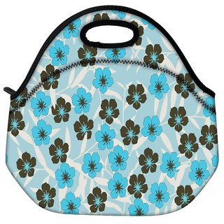 Snoogg Floral Blue Pattern Travel Outdoor Tote Lunch Bag