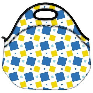 Snoogg Blue And Yellow Blocks Travel Outdoor Tote Lunch Bag