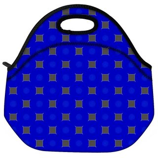 Snoogg Brown Blocks Blue Pattern Travel Outdoor Tote Lunch Bag
