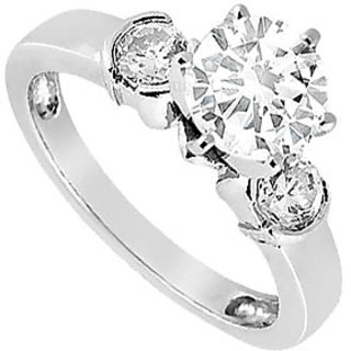 LoveBrightJewelry In Vogue 18K White Gold & Diamond Engagement Ring-0.50 CT