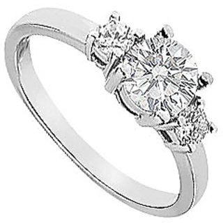 LoveBrightJewelry 18K White Gold Three Stone Diamond Engagement Ring-1.00 CT