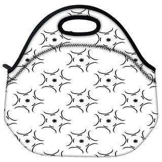 Snoogg White Pattern Travel Outdoor CTote Lunch Bag