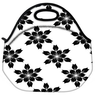Snoogg Black Floral Travel Outdoor CTote Lunch Bag