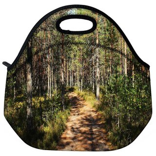 Snoogg Small Abstract Road Travel Outdoor Tote Lunch Bag