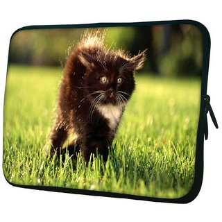 Snoogg Black Cat 10.2 Inch Soft Laptop Sleeve