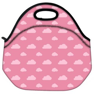 Snoogg Pink Clouds Travel Outdoor CTote Lunch Bag